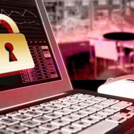 セキュリティ強化をイメージしたノートパソコンと錠前の絵